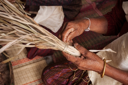 Process of weaving, dyeing, weaving ancient Thailand as silk Stock Photo - 23831058