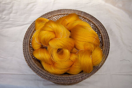 Process of weaving, dyeing, weaving ancient Thailand as silk Stock Photo - 23846005