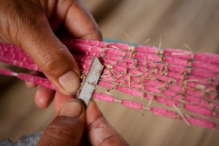 Process of weaving, dyeing, weaving ancient Thailand as silk Stock Photo - 23846020