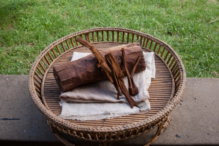 Natural materials Process of weaving, dyeing textile materials used in making dye nature of ancient Thailand as silk Stock Photo - 23831141