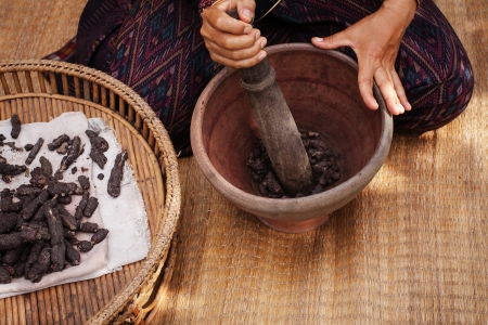 Natural materials Process of weaving, dyeing textile materials used in making dye nature of ancient Thailand as silk Stock Photo - 23831143