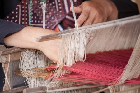 Process of weaving, dyeing textile materials used in making dye nature of ancient Thailand as silk Stock Photo - 23846084