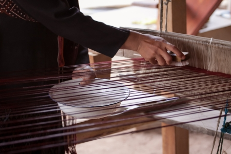 Process of weaving, dyeing textile materials used in making dye nature of ancient Thailand as silk Stock Photo - 23846091