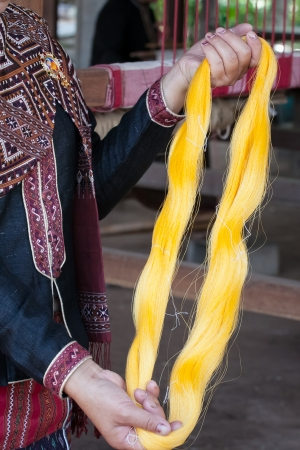 Process of weaving, dyeing textile materials used in making dye nature of ancient Thailand as silk Stock Photo - 23846133