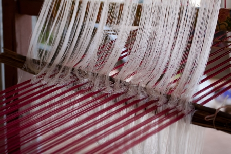 Process of weaving, dyeing textile materials used in making dye nature of ancient Thailand as silk Stock Photo - 23846134