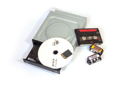 vcr: A variety of storage media Stock Photo