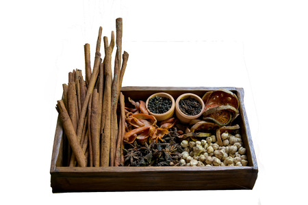 Various types of spices, herbs, dried photo