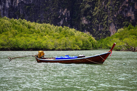 long tailed boat: long-tailed boat Float in the sea