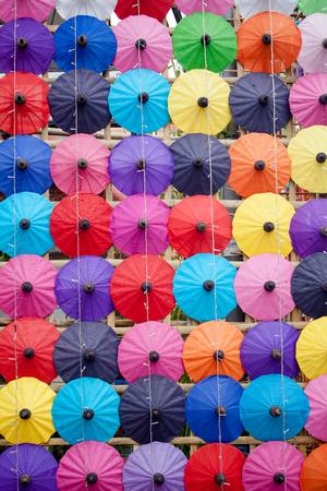 umbrella made of paper   cloth Arts and crafts of the village Bo Sang, Chiang Mai Thailand  photo