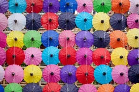 bo: umbrella made of paper   cloth Arts and crafts of the village Bo Sang, Chiang Mai Thailand