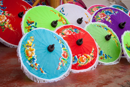 umbrella made ​​of paper   cloth Arts and crafts of the village Bo Sang, Chiang Mai Thailand  photo
