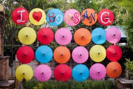 umbrella made of paper   cloth Arts and crafts of the village Bo Sang, Chiang Mai Thailand