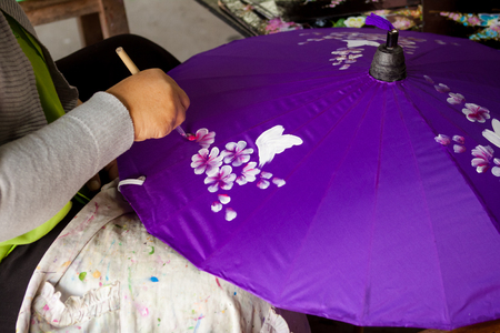 How to make the process umbrella made ​​of paper   fabric  Arts and crafts of the village Bo Sang, Chiang Mai Thailand  photo