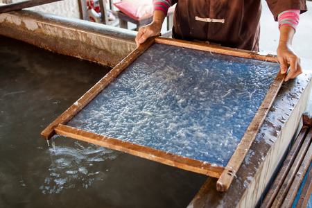 How to make mulberry paper the process umbrella made of paper  fabric  Arts and crafts of the village Bo Sang, Chiang Mai Thailand  photo
