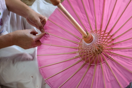 bo: How to make the process umbrella made of paper  fabric  Arts and crafts of the village Bo Sang, Chiang Mai Thailand