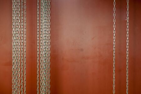Steel chains strung and hung up.