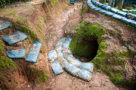 World War 2-era bunkers along the border. Banque d'images