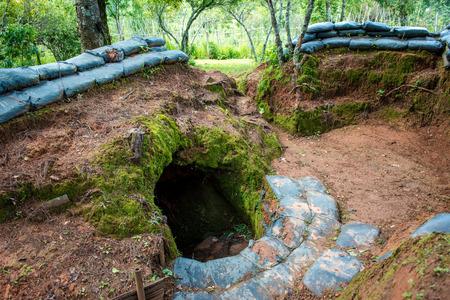 World War 2-era bunkers along the border. Stock Photo