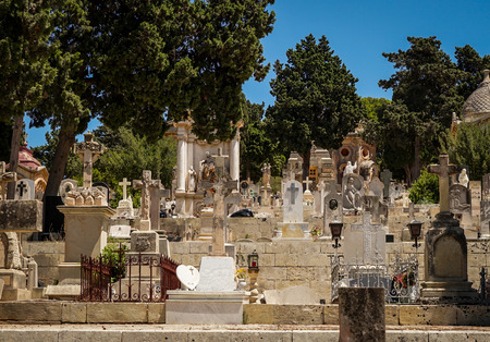 tombstones: View of the  Addolorata Cemetery typical tombstones Stock Photo