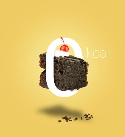 zero gravity: Isolated Zero calories chocolate cherry cake on yellow background. Chocolate cake zero calories. Chocolate pie. Flying brownie with cream.