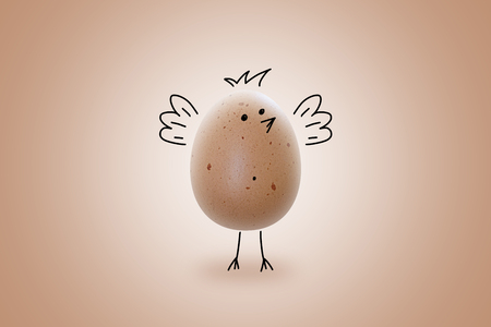 Hand drawn chicken on the real egg and beige background. Isolated, Emoji concept