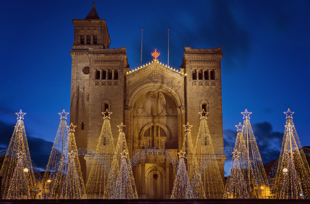 View of Parish Church of St Peter's Chains in Birzebbuga, Malta with Christmas decorations and Lights on the night sky background Stok Fotoğraf