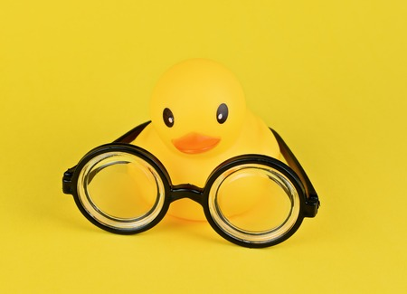 Funny goggles with round glasses on yellow background and big yellow rubber duck. April fools day greeting card concept, education, school time, copy space Imagens