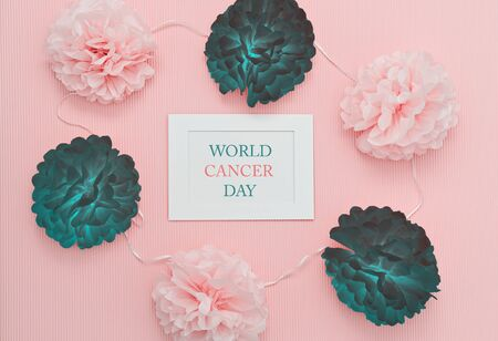Text World Cancer Day in white frame with symbolic healthy and sick flower buds, symbolizing fight humanity against cancer
