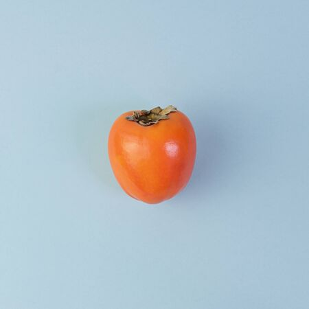 One ripe persimmon on blue background. Minimal concept for decoration with copy space 스톡 콘텐츠