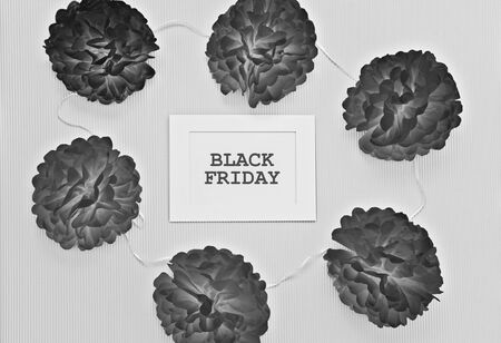 Black and white composition with paper cuted flowers and white frame with text Black Friday. Template to Novembers sale concept