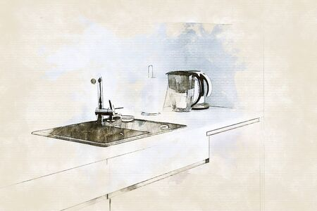Sketch of modern light kitchen with dark sink in beige colors with copy space