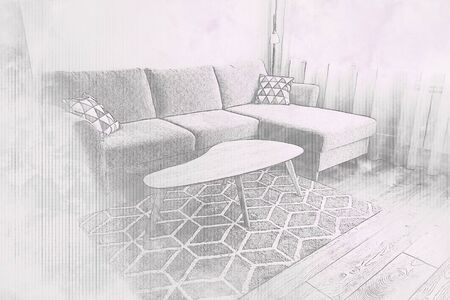 Sketch of cozy living room with comfortable couch and wooden coffee table in scandinavian style Banco de Imagens