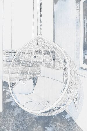 Hand drawing sketch of modern cozy hanging chair with pillows on balcony Banco de Imagens