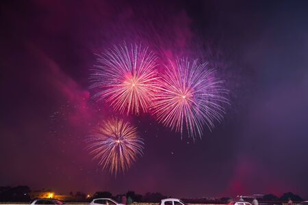 Colorful beautiful fireworks salute against the dark night sky. Abstarct pattern of salute