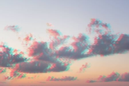 Abstract watercolor pastel colors clouds sky with glitch effect, pattern background