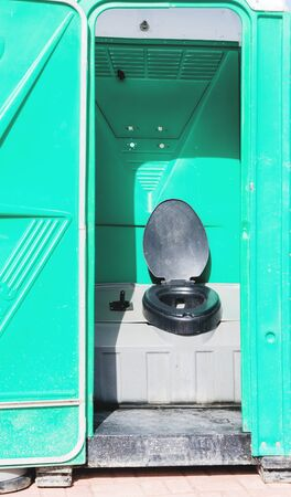 Open cabin of plastic portable toilets at an outdoor in park. The modern plastic portable toilet Reklamní fotografie