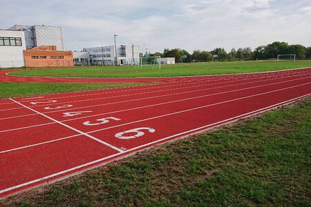 Outdoor track and field stadium with runway outdoor, sports road with lines