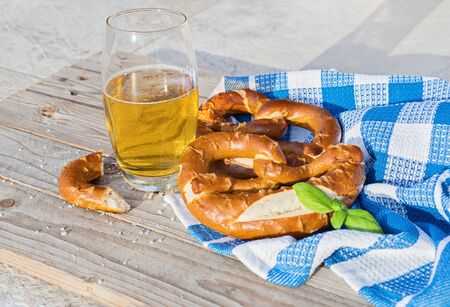 Brezel is traditional bavarian food. Salted pretzel is traditional German snack for beer on Oktoberfest Celebration