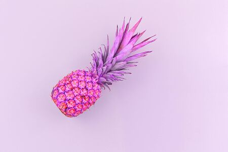 Fresh pineapple toned in trendy neon duotone colors on pink background, flat lay, copy space