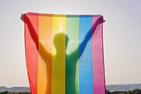 Young woman in sunglasses holding raised hands waving LGBT rainbow flag against sky. Happiness, freedom and love concept for same sex couples Reklamní fotografie