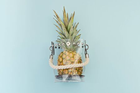 Fresh ripe pineapple in transparent plastic bag on blue background. Reducing use of plastic in shopping and everyday life concept Reklamní fotografie