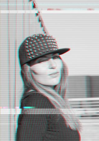 Portrait of attractive hipster woman in cap with anaglyph glitch effect Stock fotó - 137773466