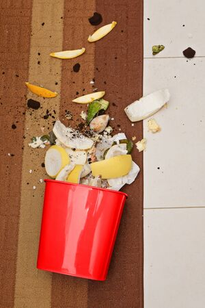 Red plastic trashcan on floor with scattered organic waste. Waste sorting and recycle at home for solving environmental Environmental pollution problems concept, top view