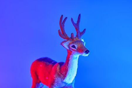 Modern conceptual art deer with shadow in duotone red and blue lights. Christmas decoration concept, copy space concept Stock fotó - 136788332