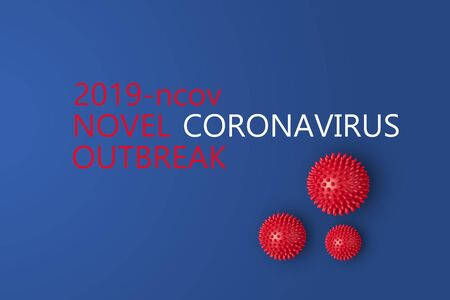 Abstarct virus strain model of Novel coronavirus 2019-nCoV with text on blue background. Virus Pandemic Protection Concept Foto de archivo - 138814531