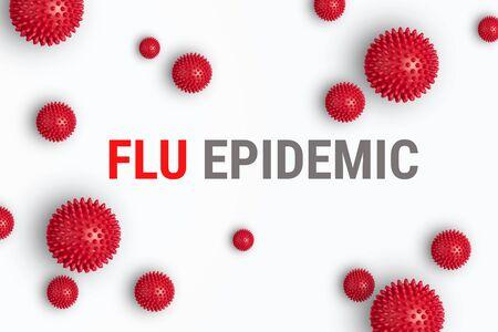 Abstract banner flu virus strain model. Outbreak respiratory syndrome and Novel coronavirus 2019-nCoV with text on white background. Flu epidemic banner concept