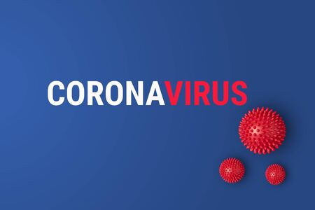 Abstract Coronavirus strain respiratory syndrome and outbreack Novel coronavirus 2019-nCoV with text on blue background. Virus Pandemic Protection Concept