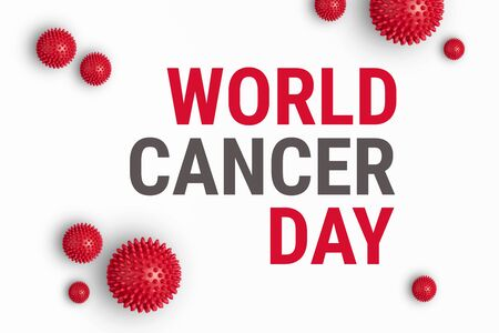Text WORLD CANCER DAY on white background with red abstract cells of cancer. World Cancer Day is memorable date celebrated annually on February 4. International Day Against Cancer banner