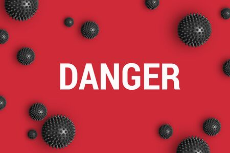 Text DANGER on red background