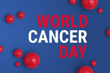 Text WORLD CANCER DAY on blue background with red abstract cells of cancer. World Cancer Day is memorable date celebrated annually on February 4. International Day Against Cancer banner